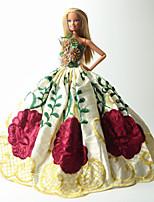 Poupée Barbie-Rouge / Vert / Jaune-Soirée & Cérémonie-Robes- enOrganza / Dentelle