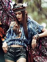 Aporia.As® Women's Round Neck Short Sleeve Shirt & Blouse Blue-MZ05003