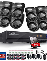 SANNCE® 720P AHD 8CH CCTV DVR Black Dome Camera Home Surveillance Security Camera System Built-in 1TB HDD