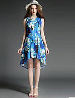Women's Plus Size / Going out Sophisticated Sheath Dress,Floral Round Neck Asymmetrical Sleeveless Blue Polyester Summer