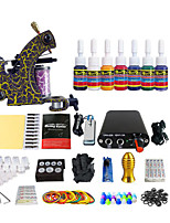 pédale d'acier inoxydable de couleur de puissance mini kit machine à tatouer bobine équipement (poignée couleur de livraison aléatoires)