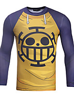Inspired by One Piece Trafalgar Law Anime Cosplay Costumes Cosplay Tops/Bottoms Print Yellow Long Sleeve T-shirt