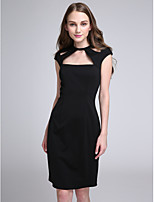 Lanting Bride Knee-length Jersey Bridesmaid Dress Sheath / Column Jewel with