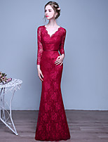 Formal Evening Dress Trumpet / Mermaid V-neck Floor-length Lace with Sash / Ribbon
