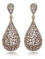 New Women Drop Earrings Hollow design 18K Gold plated & White Cubic Zircon Wedding Jewelery Earring