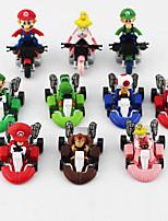 10pcs / Set Cute Super Mario Bros Kart Pull Back Car PVC Action Figure Toy