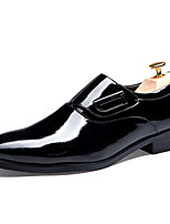 Men's Shoes Patent Leather Office & Career/Casual Oxfords Office & Career/ Casual Wedding Chunky Heel Plaid Black/Red