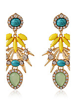 Yellow Alloy Acrylic Drop Earrings for Lady