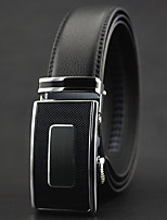 Men Fashion Business Automatic Buckle Black Leather Wide Belt,Work / Casual