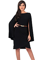 Women's Formal Vintage Street chic Plus Size Dress,Solid Round Neck Knee-length Long Sleeve Polyester Summer