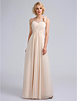 Lanting Bride Floor-length Chiffon Bridesmaid Dress Sheath / Column Spaghetti Straps with Flower(s)/Criss Cross