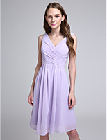 Knee-length Chiffon Bridesmaid Dress A-line V-neck with Criss Cross