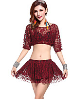 Belly Dance Outfits Training Lace Lace 2 Pieces Burgundy / Light Gray / Coffee