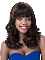 European Vogue Medium Sythetic Brown Mix Black Curly Full Bang Party Wig For Women