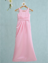 Lanting Bride Floor-length Satin Junior Bridesmaid Dress Sheath / Column Jewel with Side Draping