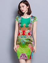 Women's Vintage Print Bodycon Dress,Round Neck Above Knee Polyester