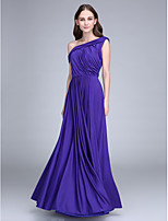 Lanting Bride Floor-length Jersey Bridesmaid Dress Sheath / Column One Shoulder with Side Draping