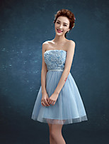 Knee-length Tulle / Polyester Bridesmaid Dress A-line Strapless with Appliques