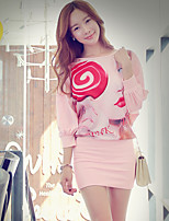 Pink Doll® Women's Round Neck 3/4 Length Sleeve Above Knee Dress-X14CDR444