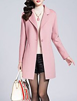 Women's Casual/Daily Simple Coat,Solid Notch Lapel Long Sleeve Winter Pink / Red / Yellow Wool Medium