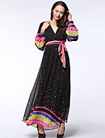 Women's Beach / Plus Size Boho Chiffon Dress,Polka Dot Deep V Maxi Long Sleeve Black Polyester Summer