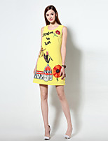 Boutique S Women's Going out Simple A Line Dress,Print Round Neck Above Knee Sleeveless Black / Yellow Polyester Summer