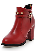 Women's Shoes Fall / Winter Fashion Boots / Pointed Toe Boots Dress Chunky Heel Zipper Black / Red