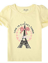 Girl's Casual/Daily Print Tee,Cotton Summer White / Yellow