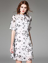 Angel Women's Going out Street chic A Line Dress,Print Stand Above Knee Short Sleeve White Silk Summer
