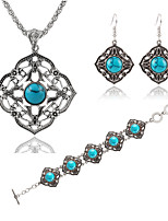 Hollow Square Blue Turquoise Bracelets Earrings Necklace Jewelry Sets