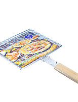 Outdoor Iron Chrome Barbecue Fish Meat Roast Grilling Basket Folder Tool