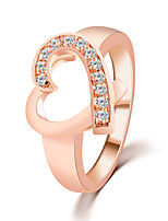 Classical Contracted Fashion Love Hollow Heart-shaped Rhinestones Inlaid Rings Valentine's Day Present