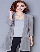 Cardigan Aux femmes Manches Courtes simple Coton Translucide