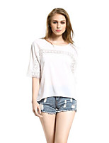 Women's Solid White / Black Blouse,Round Neck Short Sleeve