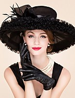 Women's Feather / Organza Headpiece-Wedding / Special Occasion / Casual Fascinators / Hats 1 Piece Black Round 57