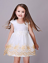Girl's Casual/Daily Jacquard Dress,Cotton / Polyester Summer / Spring White