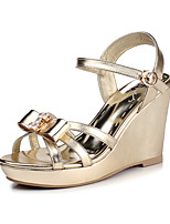 Women's Shoes PU Spring / Summer / Fall Wedges Heels Party & Evening / Dress / Casual Wedge Heel Crystal / Bowknot Gold