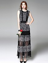 Boutique S  Women's Going out Street chic Lace Dress,Patchwork Round Neck Above Knee Sleeveless Polyester Summer