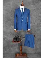 Suits Tailored Fit Peak Single Breasted One-button Polyester Solid 3 Pieces Blue Straight Flapped