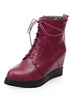 Dames Laarzen Lente / Herfst / Winter Sleehak / Modieuze laarzen Kunstleer Buiten / Kantoor & Werk / Informeel Sleehak VetersZwart / Geel