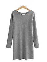 Women's Casual/Daily Street chic Sheath Dress,Solid Round Neck Above Knee Long Sleeve  Cotton Spring / Fall