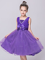 Girl's Party/Cocktail Solid Dress,Polyester Summer Pink / Purple / White