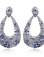 New Fashion for Womens Earrings Platinum Plated & 4 Colour Cubic Zirconia Drop Earrings Wedding Accessories Gift