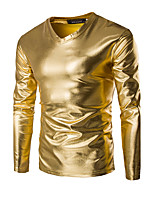 Men's Solid Casual / Sport T-Shirt,Cotton Long Sleeve-Black / Gold / Silver