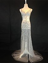 Formal Evening Dress Trumpet / Mermaid Sweetheart Sweep / Brush Train Tulle with Beading