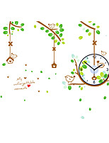 Family DIY Cartoon Tree Branches Birdcage Wall Stickers With Wall Clock Fashion Living Room Bedroom Home Decor