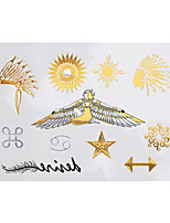 1pc Temporary Flash Metallic Tattoo Gold Silver Goddess Flower Feather Indian Waterproof Tattoo Sticker YH-072