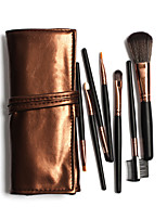 7 Makeup Brushes Set Professional / Portable Hot Sales Black Handles Brown Bags