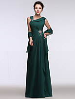 Formal Evening Dress A-line Straps Floor-length Chiffon with Beading / Sequins / Side Draping