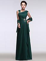 Serata formale Vestito Linea-A A sottoveste Lungo Chiffon con Perline / Drappeggio di lato / Con strass